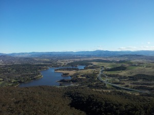 Brindabella Mountains in the distance taken from observation deck Telstra Tower.