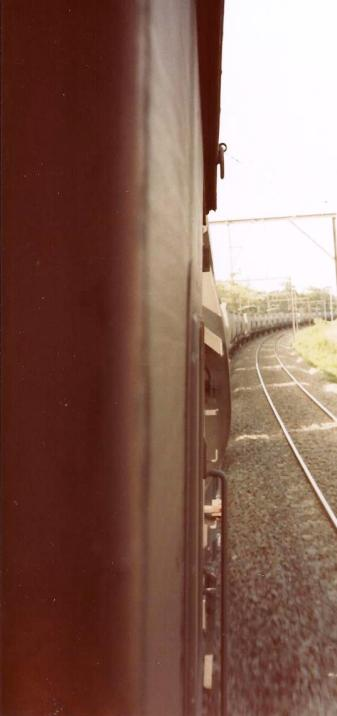 I took this photo when I was working a coal train between Sydney and Newcastle from the rear brakevan. (1984)