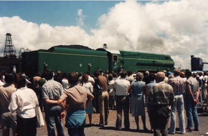 Steam Loco 3801 being re-commissioned in 1981 at the Newcastle State Dockyard.