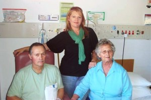 My mother and younger sister visiting me in Ward 6B at The Canberra Hospital (TCH)
