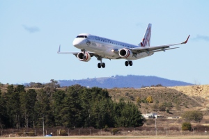 Virgin Jet landing at Canberra Airport.