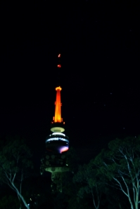 Telstra Tower at night (graphic 1)