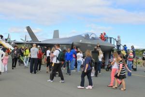 Lockheed Martin F35 mock-up fighter jet.