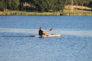 Canoeing on Lake Ginninderra.